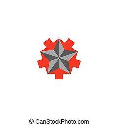 Faceted star logo, 5 arrows converging star shape, creative symbol teamwork success