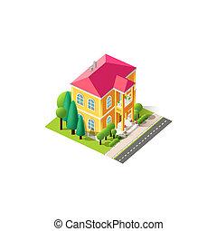 fachada, ático, isométrico, amarillo