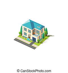 fachada, ático, isométrico, beige