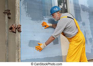 fachada, aislamiento, malla, styrofoam, instalación