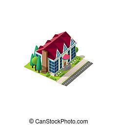 fachada, cabaña, isométrico, camino