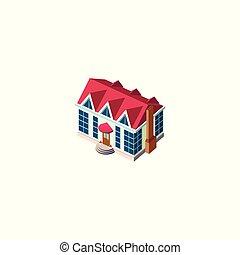 fachada, cabaña, isométrico, techo