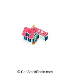 fachada, cabaña, isométrico