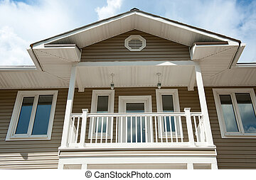fachada, casa de madera