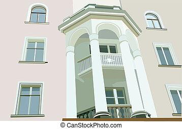 fachada, casa, imagen, blanco, columnas