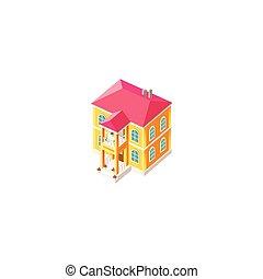 fachada, casa, isométrico, amarillo