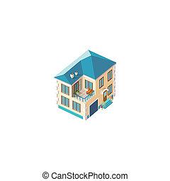 fachada, casa, isométrico, beige