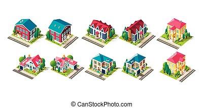 fachada, casa, isométrico, conjunto