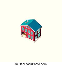 fachada, casa, isométrico, rojo