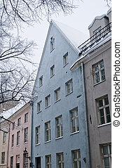 fachada, casas, antigas, tallinn