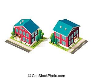 fachada, casas, isométrico, conjunto, rojo