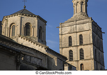 fachada, catedral, torre, avignon