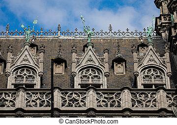 fachada, ciudad, museo, bruselas, florido