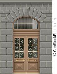 fachada, com, entrada, porta