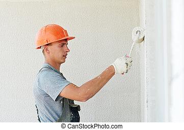 fachada, constructor, trabajador, yesero