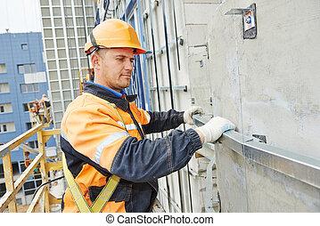 fachada, constructor, trabajo de construcción