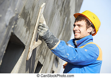 fachada, constructor, trabajo, yesero
