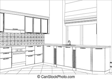 fachada, cozinha, vetorial, esboço, interior., ilustração,...