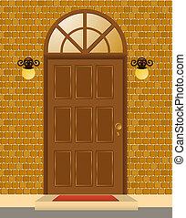 fachada, de, casa, com, porta