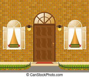 fachada, de, casa, com, windows.vector