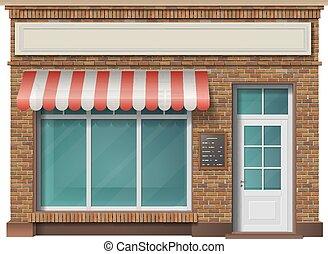 fachada de edificio, ladrillo, tienda