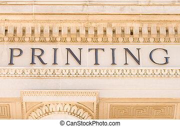 """fachada de edificio, palabra, lado, """"printing"""""""