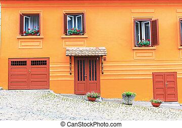 fachada, de, um, edifício histórico