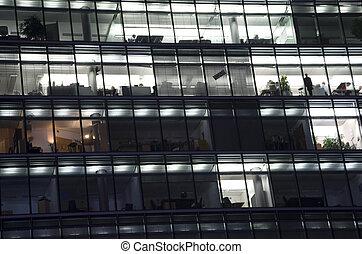 fachada, de, um, modernos, edifício escritório, com, a,...