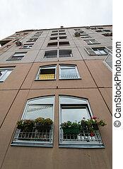 fachada, de, um, predios, com, janelas