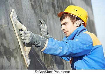 fachada, enyesado, constructor, trabajo, trabajador
