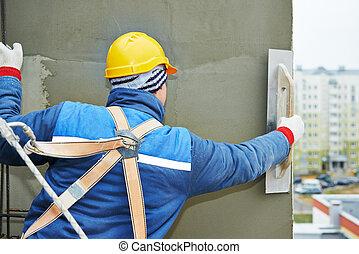 fachada, enyesado, trabajo, trabajador