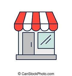 fachada, estructura, tienda, aislado, icono
