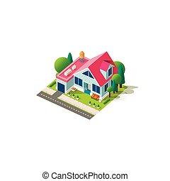 fachada, hogar, isométrico, cabaña