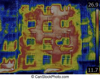 fachada, imagen térmica