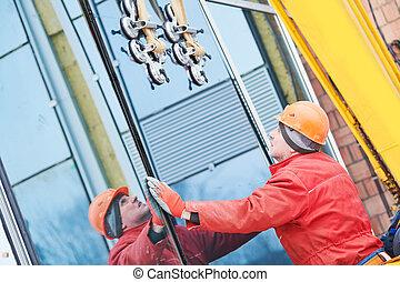 fachada, janela vidro, instalação