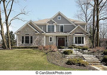 fachada, lar, pedra, luxo