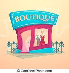 fachada, moda, vetorial, loja, ilustração