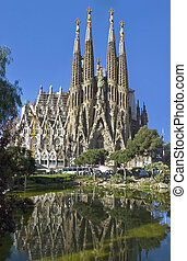 fachada, sagrada familia, españa, barcelona
