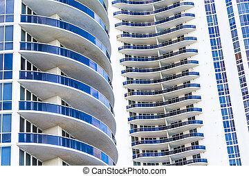 fachada, soleado, rascacielos, islas