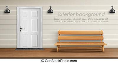 fachada, vector, veranda, plano de fondo, exterior