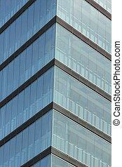 fachada, vidro, arranha-céu
