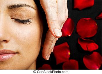 facial, énergie, masage