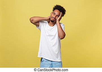 facial, étudier, jeune, malheureux, humain, accentué, expressions, really, travail, isolé, long, arrière-plan., blanc, beau, heures, closeup, négatif, portrait, émotions, homme, douleur cou, mauvais