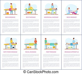 Facial and Abdominal Massage Care Posters Vector