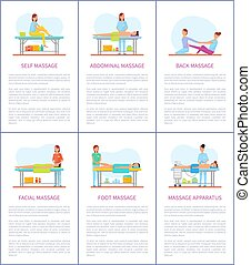 Facial and Self Massage Care Posters Set Vector