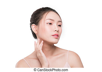 Facial anti-aging treatment skin. Young female with clean fresh skin
