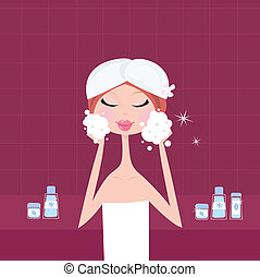 Young woman applying facial peeling mask on her face. Beauty treatment and relaxation. Vector Illustration.