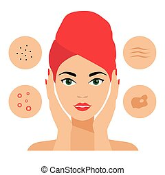 Facial Care, Skin Defects, Problems, Acne, Seborrhea,...
