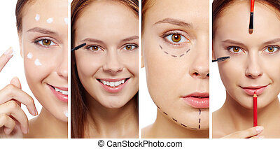 Young female with beauty tools, facial cream and puncture lines on face looking at camera