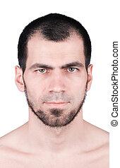 Facial close up of an attractive man face